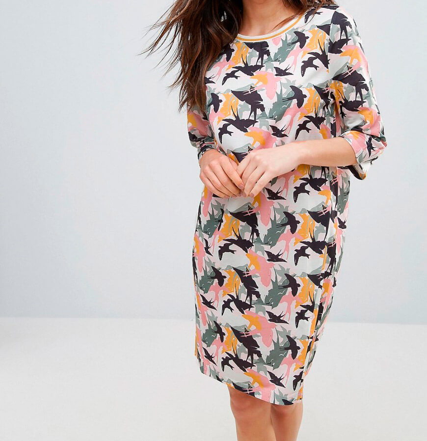 платье с изображением птичек
